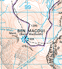 Area of the summit of Ben Macdui on an OS 1:50,000 Landranger map; click on the image for a larger version