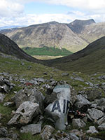 Wreckage of a USAF jet fighter at the head of Coire nam Frithhallt in Morvern
