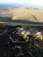 Wreckage parts from a Mosquito bomber on The Curr in the Cheviot hills