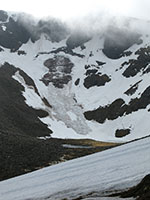 Avalanche debris on headwall of Coire an Lochain