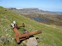 Part of the undercarriage structure from the crashed B-17, below Beinn Edra on Skye