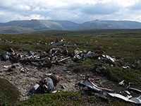 Anson wreckage with Ben Avon and Beinn aBhuird in the background