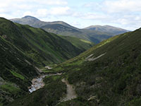 Looking south down upper Glen Tilt towards Beinn aGhlo